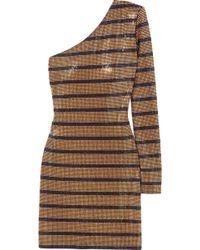 Balmain - One-shoulder Crystal-embellished Georgette Mini Dress - Lyst