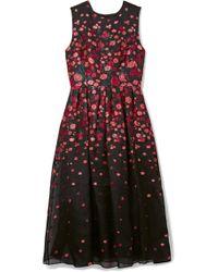 Lela Rose - Pleated Fil Coupé Silk-blend Organza Midi Dress - Lyst