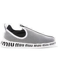 Miu Miu - Logo-print Neoprene And Mesh Slip-on Trainers - Lyst