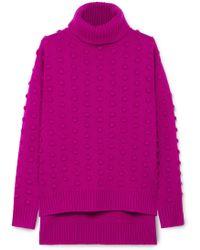 Lela Rose - Bobble-knit Wool And Cashmere Blend Turtleneck Jumper - Lyst