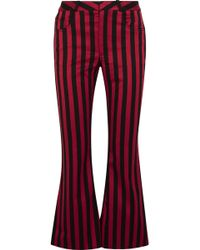 Marques'Almeida - Cropped Striped Cotton-blend Satin Flared Pants - Lyst