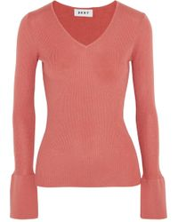 DKNY - Ribbed Silk, Wool And Cashmere-blend Sweater - Lyst