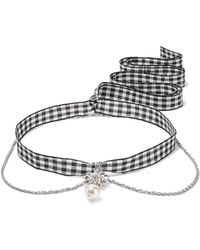 Miu Miu - Gingham Cotton, Silver-tone, Crystal And Faux Pearl Necklace - Lyst