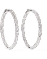 Kenneth Jay Lane - Rhodium-plated Crystal Hoop Earrings - Lyst