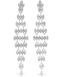 Kenneth Jay Lane - Silver And Rhodium-plated Crystal Earrings - Lyst