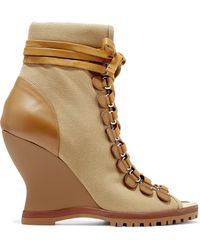 Chloé - River Canvas And Leather Wedge Ankle Boots - Lyst