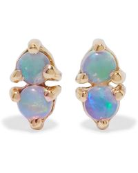 Wwake - Two Step Gold Opal Earrings - Lyst