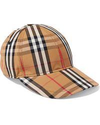 Burberry Checked Cotton-canvas Baseball Cap - Natural