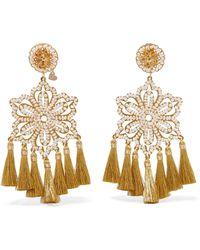 Mercedes Salazar - Hibiscus Nieve Tasseled Gold-tone Faux Pearl Clip Earrings - Lyst