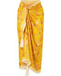 Johanna Ortiz - Sunshine Tassel-trimmed Printed Silk Crepe De Chine Pareo - Lyst