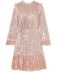 Needle & Thread - Tulle-trimmed Sequined Chiffon Dress - Lyst