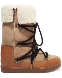 Isabel Marant - Nowly Shearling-lined Textured-leather And Suede Snow Boots - Lyst