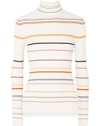SJYP - Striped Ribbed-knit Turtleneck Sweater - Lyst