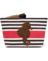 Sanayi 313 - Embroidered Striped Canvas Clutch - Lyst