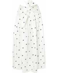 Ulla Johnson - Aglae Bow-detailed Embroidered Taffeta Midi Skirt - Lyst