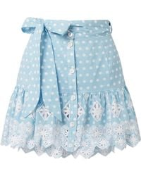 Miguelina - Emy Broderie Anglaise-trimmed Polka-dot Cotton Mini Skirt - Lyst
