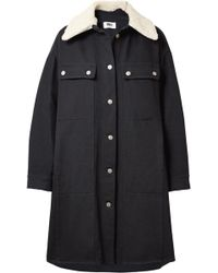 MM6 by Maison Martin Margiela - Oversized Faux Shearling-trimmed Cotton-blend Drill Coat - Lyst