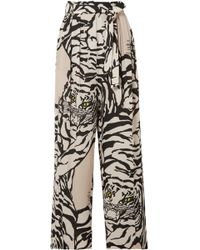 Valentino - Pleated Printed Silk-crepe Straight-leg Pants - Lyst