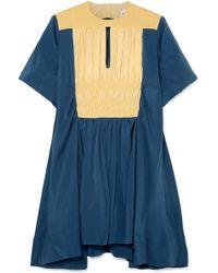 Carven - Smocked Cotton-paneled Stretch-silk Mini Dress - Lyst