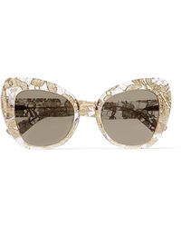 Dolce & Gabbana | Cat-eye Acetate And Metallic Lace Mirrored Sunglasses | Lyst