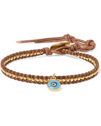 Chan Luu - Evil Eye Leather, Gold-plated And Enamel Bracelet - Lyst