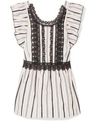 Anna Sui - Guipure Lace-trimmed Jacquard Top - Lyst