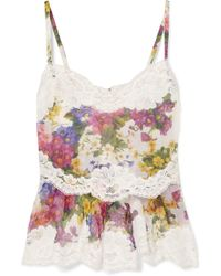 Dolce & Gabbana - Lace-trimmed Floral-print Silk-blend Camisole - Lyst