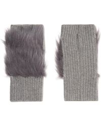 Karl Donoghue - Shearling-trimmed Ribbed Cashmere Fingerless Gloves - Lyst