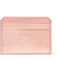 Mark Cross - Metallic Textured-leather Cardholder - Lyst