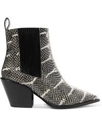 Aeyde - Kate Snake-effect Leather Ankle Boot - Lyst