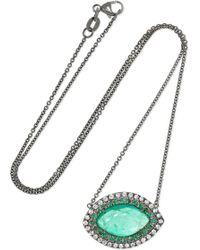 Kimberly Mcdonald - 18-karat Blackened White Gold, Emerald And Diamond Necklace White Gold One Size - Lyst