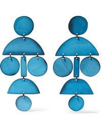 Annie Costello Brown Pom Pom Oxidized Earrings - Blue