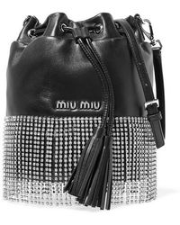 Miu Miu Leather Bucket Bag With Crystals