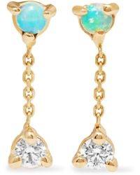 Wwake - Two Step 14-karat Gold, Opal And Diamond Earrings - Lyst