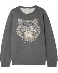 KENZO - Embellished French Cotton-terry Sweatshirt - Lyst