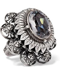 Alexander McQueen - Silver-tone And Crystal Ring Silver 11 - Lyst