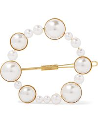 LELET NY - Gold-tone Faux Pearl Hairclip Gold One Size - Lyst