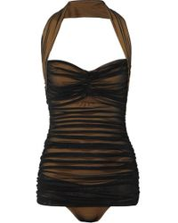 Norma Kamali - Bill Mio Ruched Stretch-nylon And Mesh Halterneck Swimsuit - Lyst