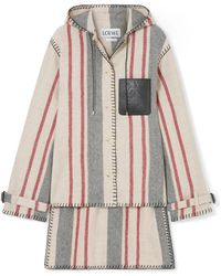Loewe - Hooded Striped Leather-trimmed Wool-canvas Jacket - Lyst