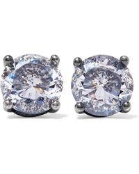 Bottega Veneta - Oxidized Silver Cubic Zirconia Earrings - Lyst