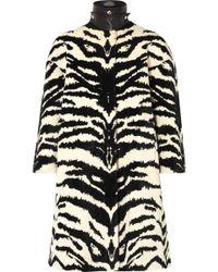 Alexander McQueen - Leather-trimmed Zebra-jacquard Coat - Lyst