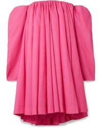 CALVIN KLEIN 205W39NYC - Off-the-shoulder Gathered Taffeta Dress - Lyst
