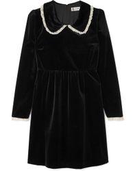 Paul & Joe - Lace-trimmed Velvet Mini Dress - Lyst