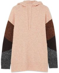 By Malene Birger - Brunilde Hooded Metallic-paneled Knitted Jumper - Lyst