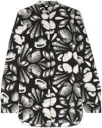 Alexander McQueen - Printed Silk-crepe Blouse - Lyst