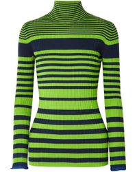 Victoria, Victoria Beckham - Striped Ribbed Wool-blend Turtleneck Jumper - Lyst