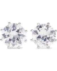 Kenneth Jay Lane - Rhodium-plated Cubic Zirconia Earrings - Lyst