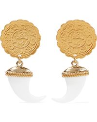 Kenneth Jay Lane - Gold-tone And Faux Horn Earrings - Lyst