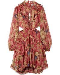 Zimmermann - Melody Cutout Floral-print Silk-crepon Mini Dress - Lyst