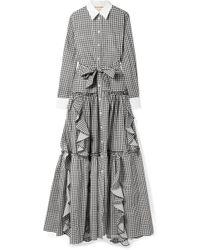 Sara Battaglia - Ruffled Gingham Cotton-poplin Maxi Dress - Lyst